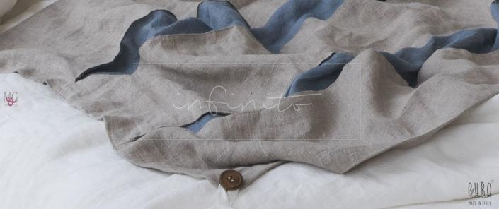 INFINITO 2 copripiumino matrimoniale base lino panna e grezzo naturale 2 tagli blu